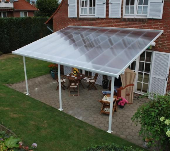 Palram Terrassendach, Terrassenüberdachung 300x546 cm weiß inkl. Regenrinnen und Befestigungskit   mygardenhome