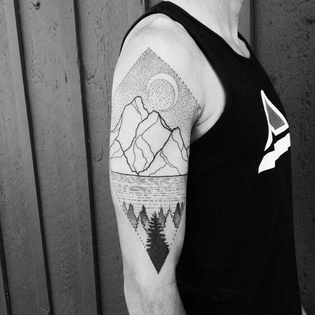 Mountains and trees monolith_tattoo_studio oregon