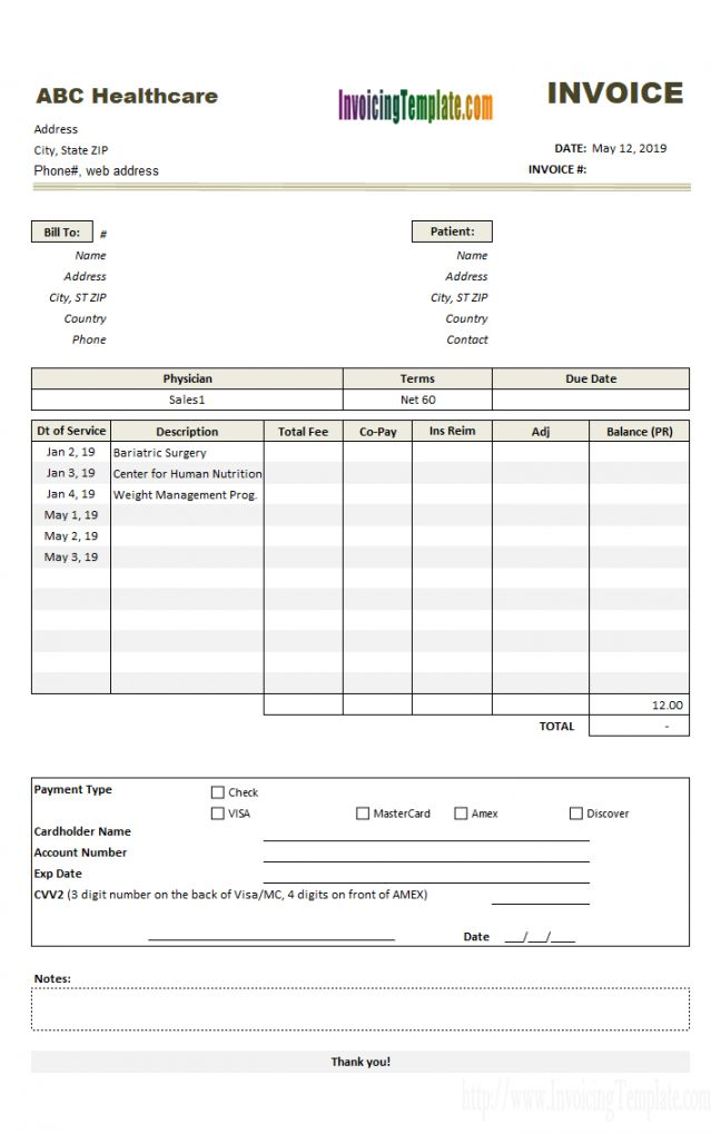 Get Our Free Medical Insurance Receipt Template Invoice Template Receipt Template Home Health Care