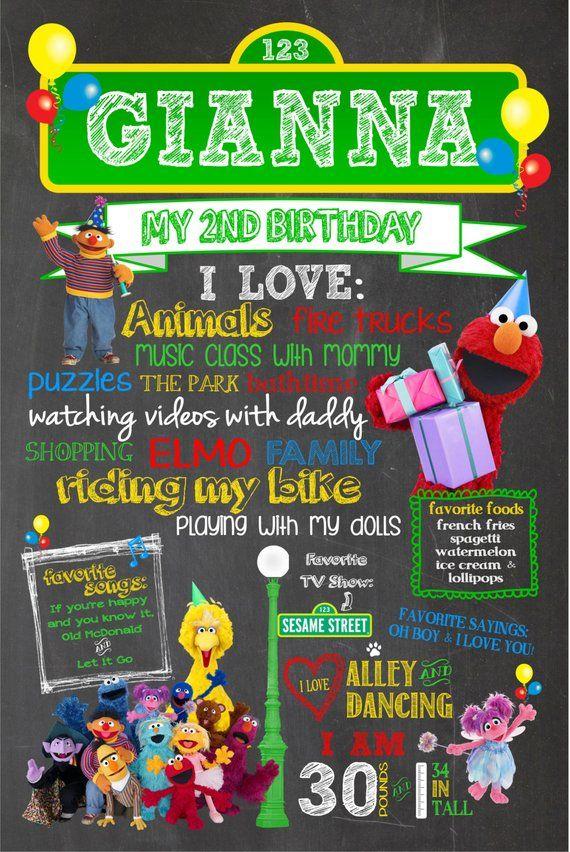 Sesame Street Birthday Customized Poster With Photo!