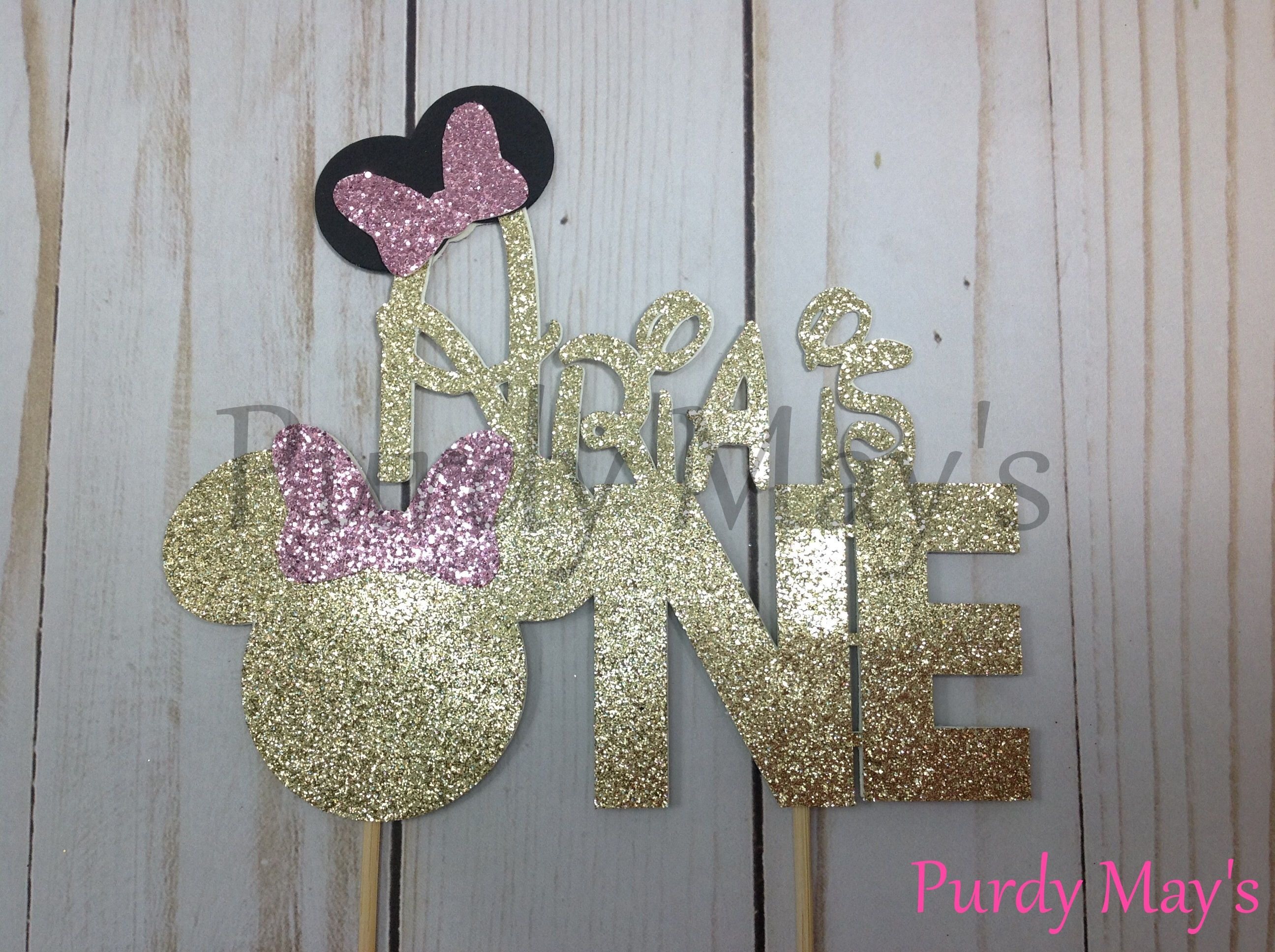 Minnie Mouse Cake Topper Custom Disney Font Name Cake Topper