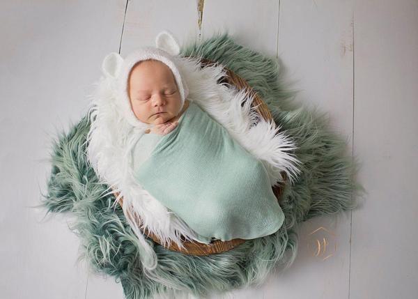 Plantation Green Ombre Faux Fur Newborn Photo Prop 3 Size Options