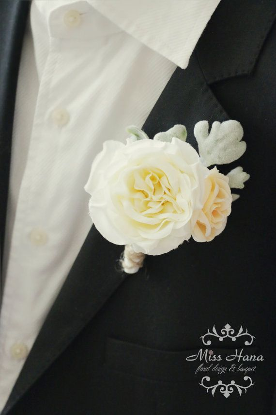 rustic boutonniere ivory garden rose boutonniere rustic buttonhole twine and burlap wedding groomsmen flowers corsage - Garden Rose Boutonniere