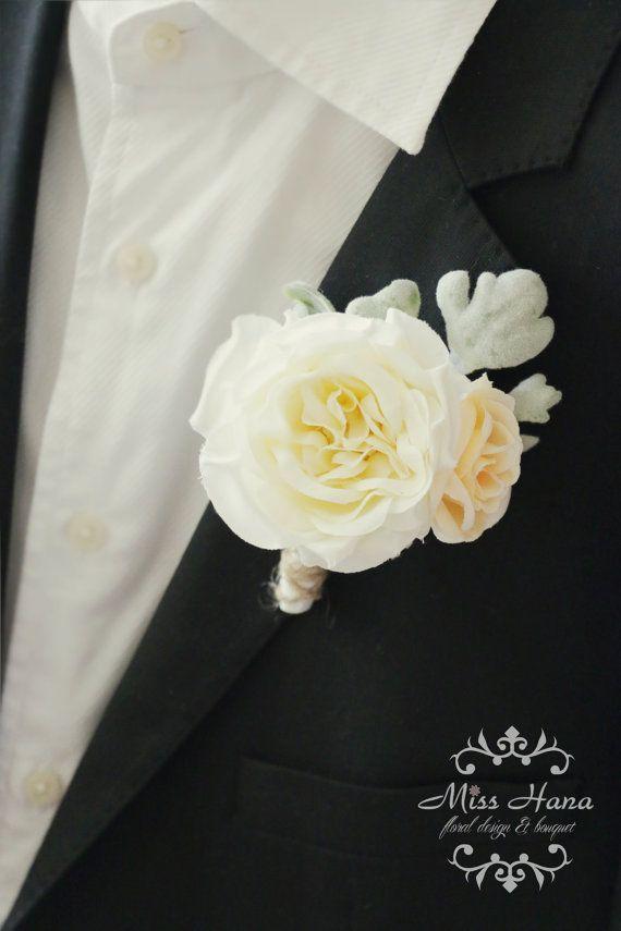 Merveilleux Rustic Boutonniere, Ivory Garden Rose Boutonniere, Rustic .