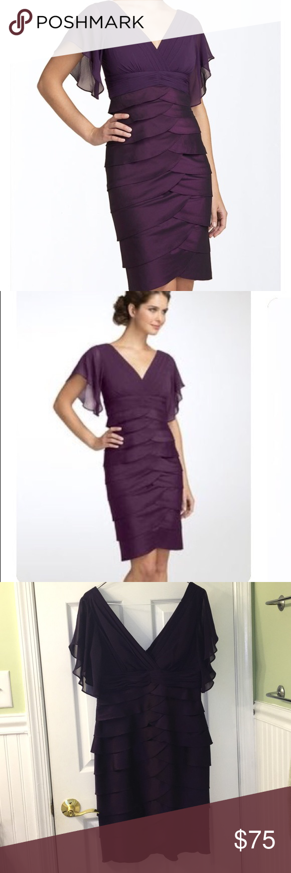 Adrianna Papell flutter sleeve tiered dress Plum chiffon and rayon. Sheer flutter sleeve with rouched empire waist. Tiered stretch skirt, in shimmery plum. Excellent pre owned condition. Color is exactly like stock photo. Wonderful for weddings or work events! Fully lined. No modeling/no trades Adrianna Papell Dresses