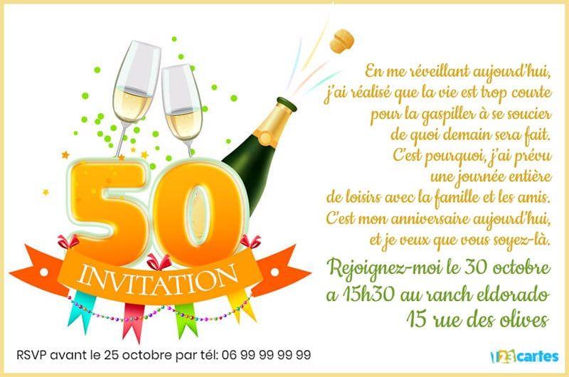 Invitation Anniversaire 50 Ans Champagne Gratuite à
