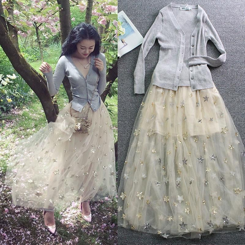 3a61ef5cf6 Starry Night Midi Tulle Skirt SP1710259 | BUY THESEEEE 1ST | Skirts ...