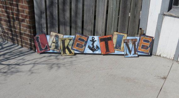 RUSTIC Nautical Tin & Wood Sign Lake Time by GlancesBackVintage