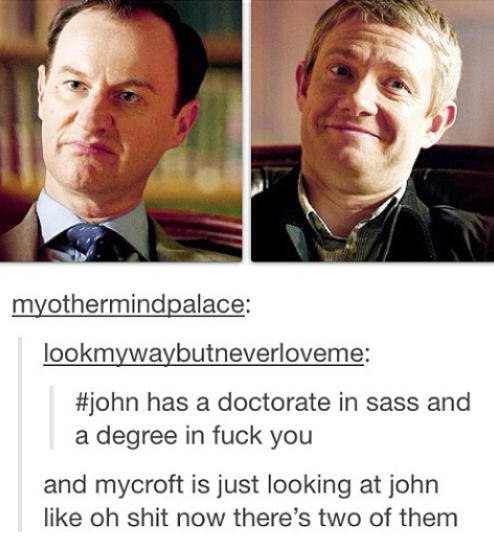 Part of me wonders if Sherlock chose John because he knew Mycroft would suffer.