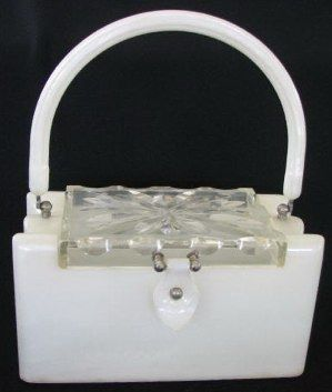 White Marbled Lucite Box Purse