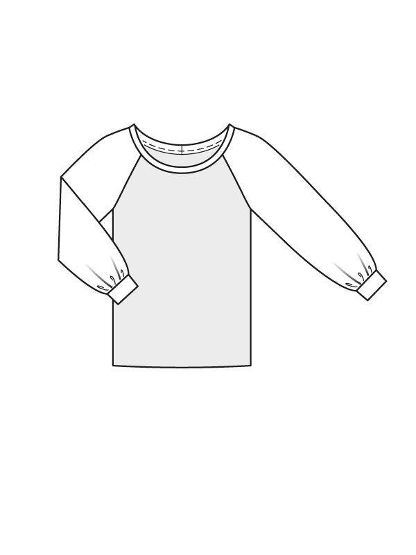 183fbf28580 Блузка с рукавами реглан - выкройка № 115 В из журнала 8 2015 Burda – выкройки  блузок на Burdastyle.ru