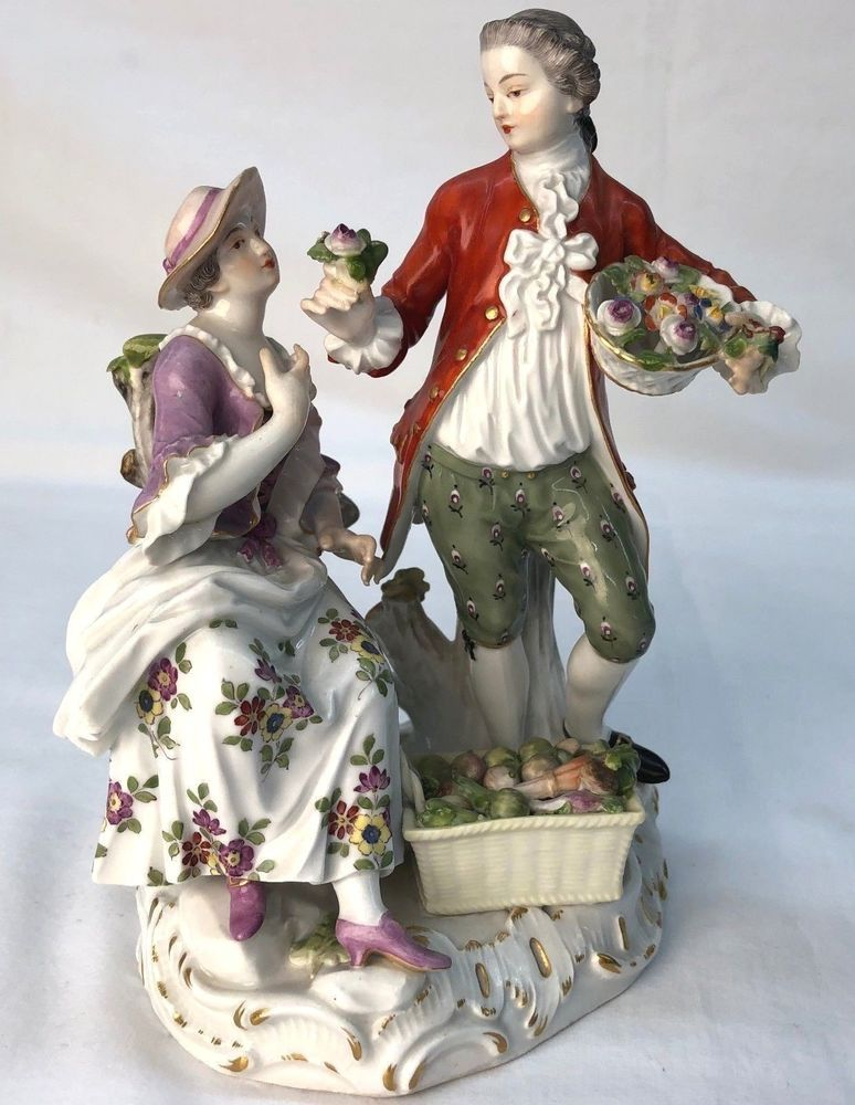 Meissen 19th C. Porcelain Figural Group Lady and