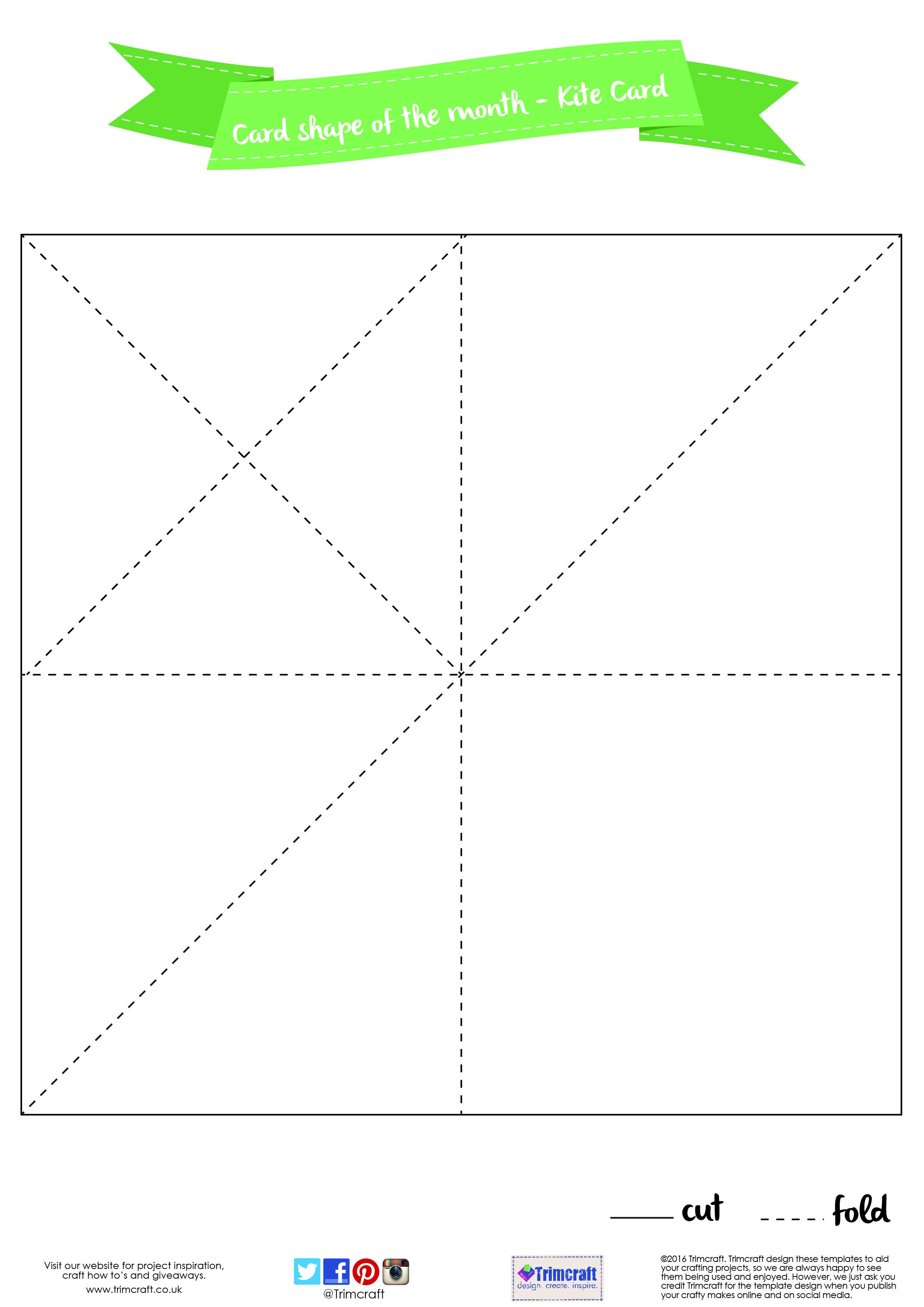 Card Shape of the Month- 3D Kite Card with Free Template | Card ...