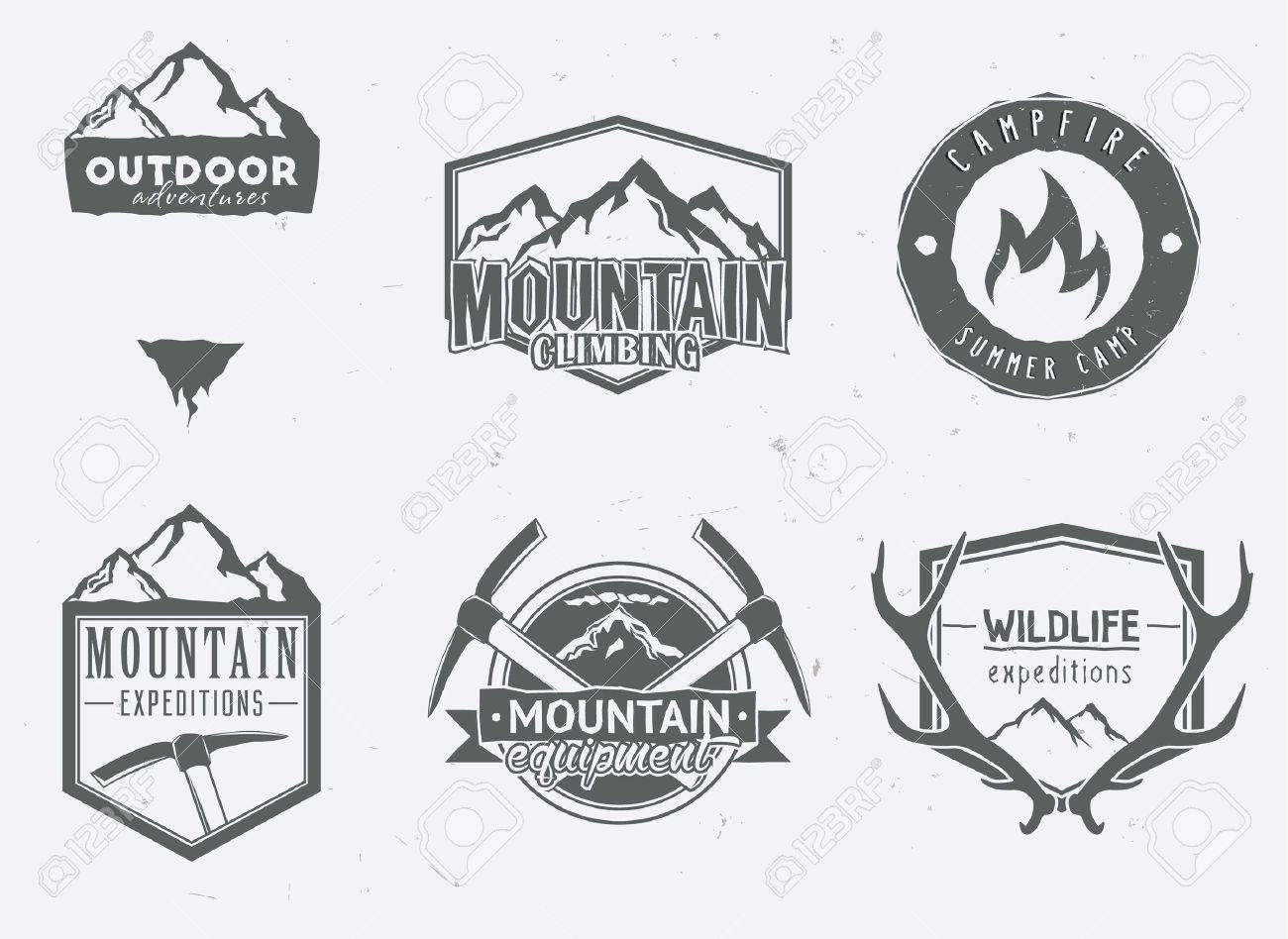 Outdoor Adventures Icons Wildlife Badges Mountain