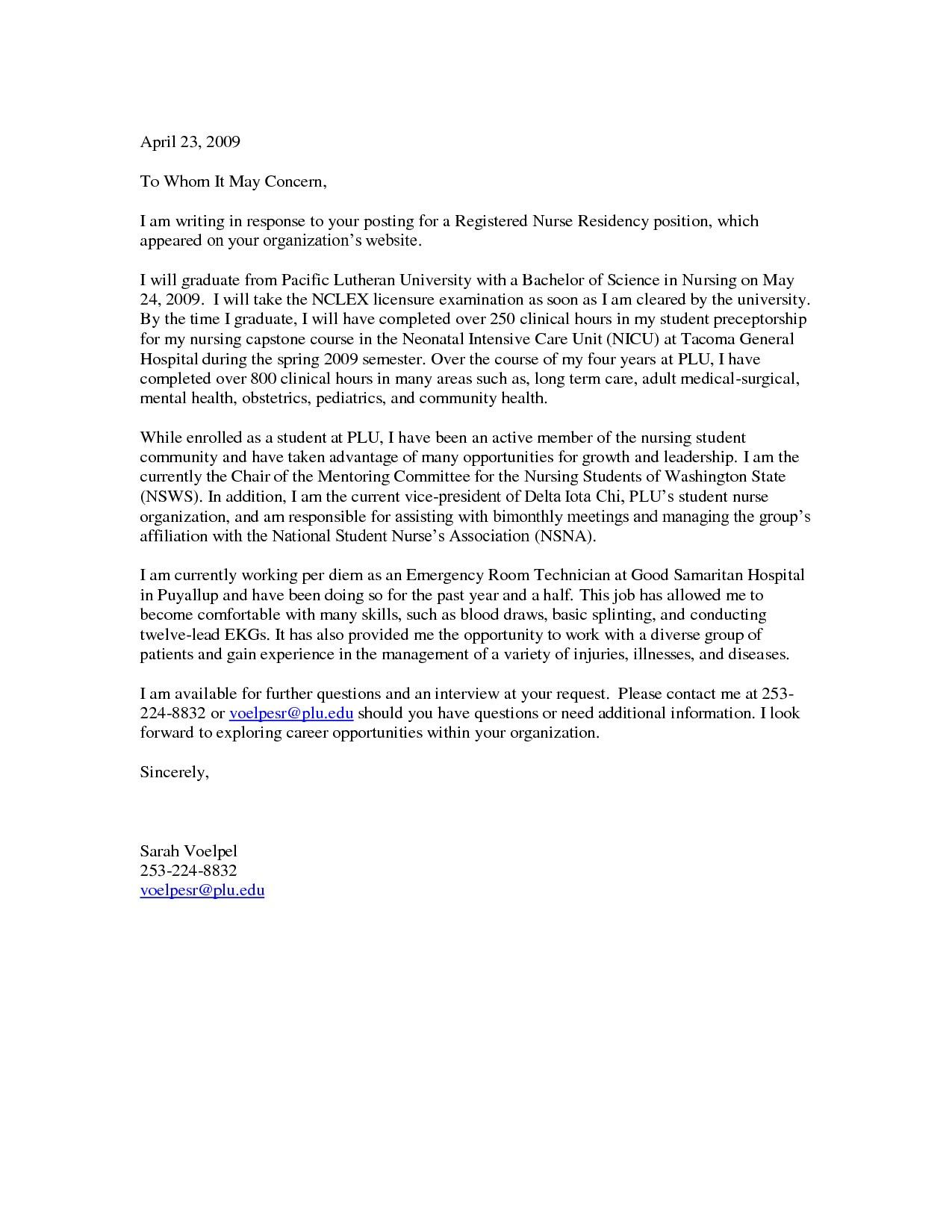 New Grad Rn Cover Letter Samples