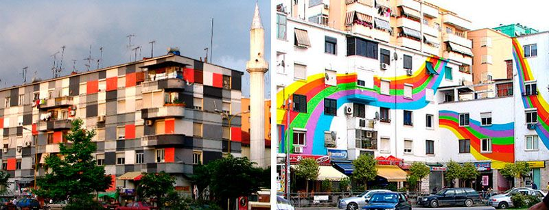 Colourful painted apartment buildings of Tirana, the capital of Albania (post-communist efforts to brighten up depressing old urban blocks)