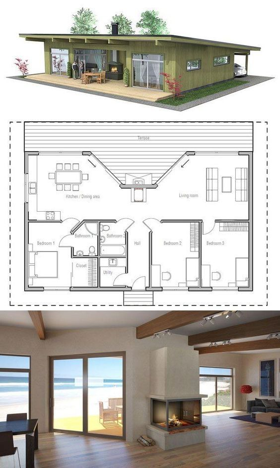 Small House Plan with three bedrooms Love the porch fireplace - Plan Architecture Maison 100m2