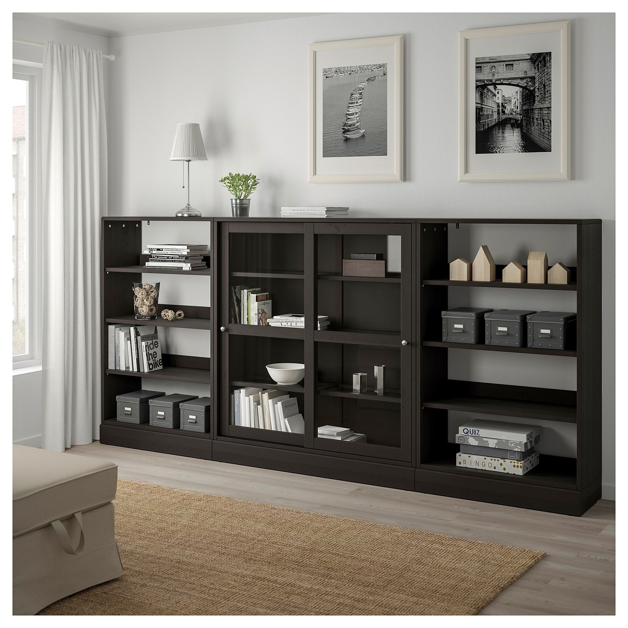 IKEA HAVSTA Storage with sliding glass doors dark brown