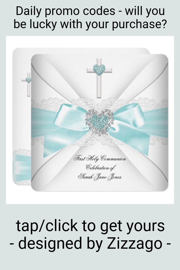 Girl First Holy Communion Teal White Heart Invitation #girl #first #holy #communion #pretty #Invitation
