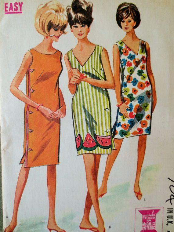 1960s Shift Dresses : 1960s, shift, dresses, Vintage, McCall's, Sewing, Pattern, Shift, Dress, Patterns,, Pattern,, Patterns