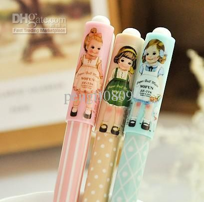 Wholesale mulit color 0.38mm black gel ink Pen with caps ball lovely cartoon girls cute gifts plastic decro, Free shipping, $0.55-0.72/Piece | DHgate