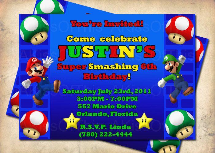 Super mario bros birthday party invitation custom made invite super mario bros birthday party invitation custom made invite 1500 via etsy filmwisefo