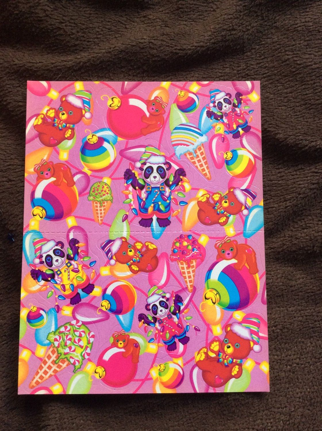 2 Sheets Of Vintage Lisa Frank Stickers 1 Sheet Is Christmas Bears And The Other A Multi Characters Valentines Day Sticker Please Look