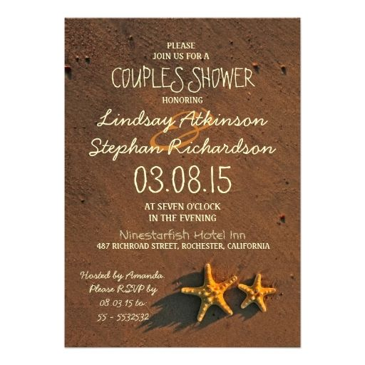 beach starfish couple couples shower invitations