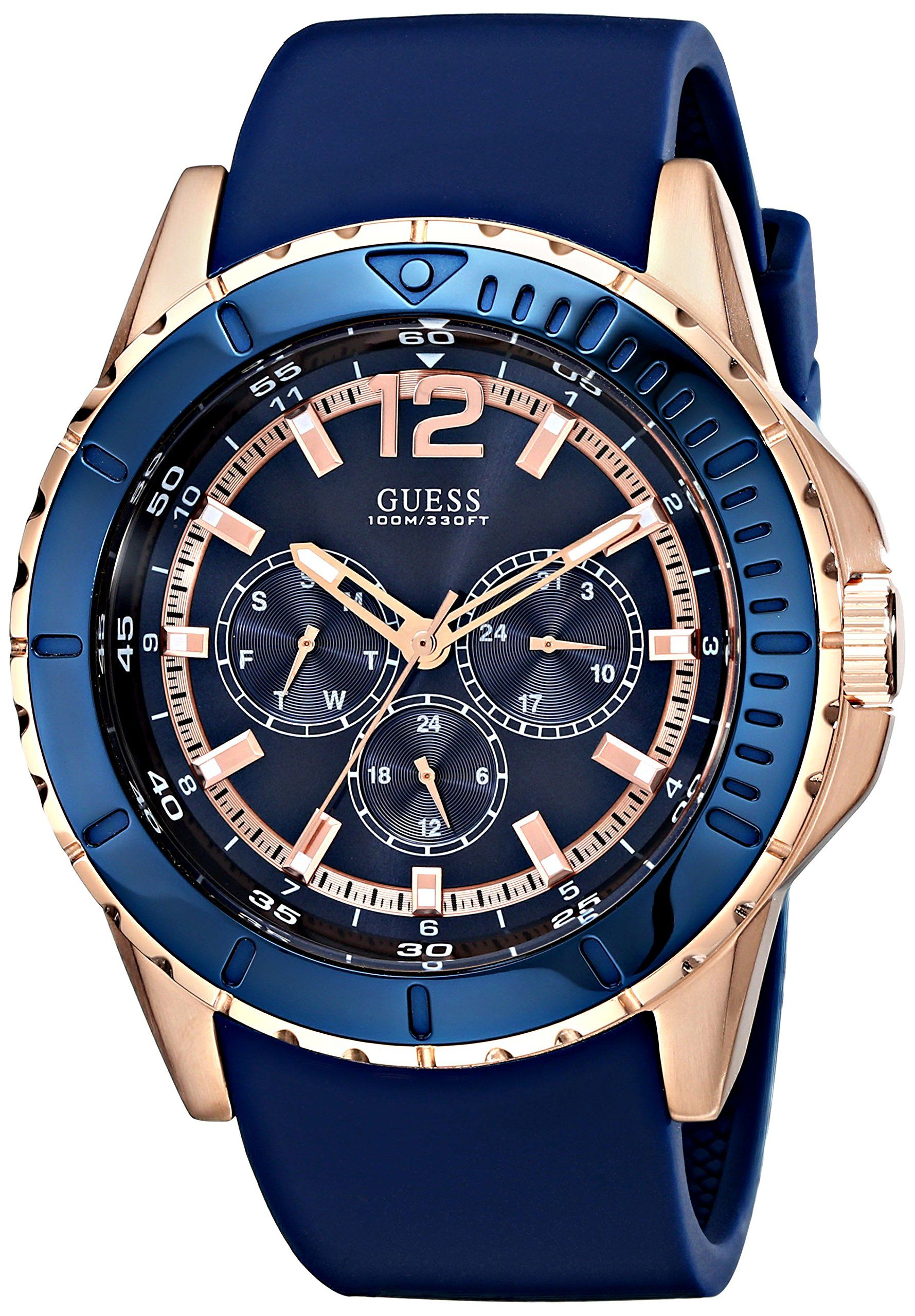 b8bec5445 GUESS Men s U0485G1 Comfortable Rose Gold-Tone   Blue Silicone  Multi-Function Watch