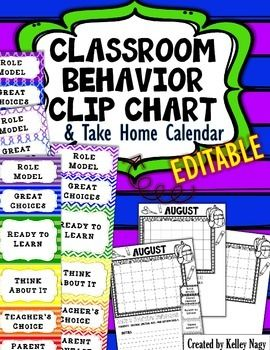 This is  printable and or editable behavior chart calendar to use in any classroom each month seasonally themed also rh pinterest