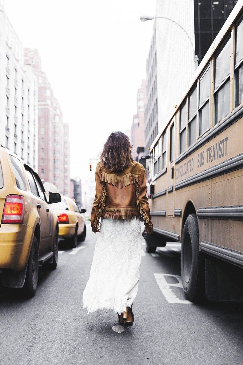 Lace skirt + fringe jacket... perfection