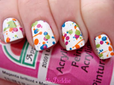 Modiddie The Ultimate Spring Time Manicure Splatter Paint Nail Art