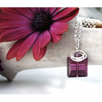 Purple Crystal Necklace | Bowmanville ON Flowers Delivery  Swarovski crystal with sterling silver