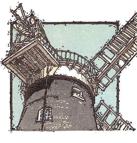Windmill 2 Linocut HJ Jackson