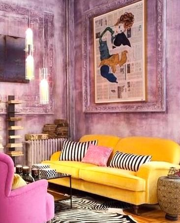 Yellow And Pink Interior Living Room I Had A Purple Bathroom Once I Miss My Purple In 2020 Living Room Decor Colors Colourful Living Room Decor Colourful Living Room
