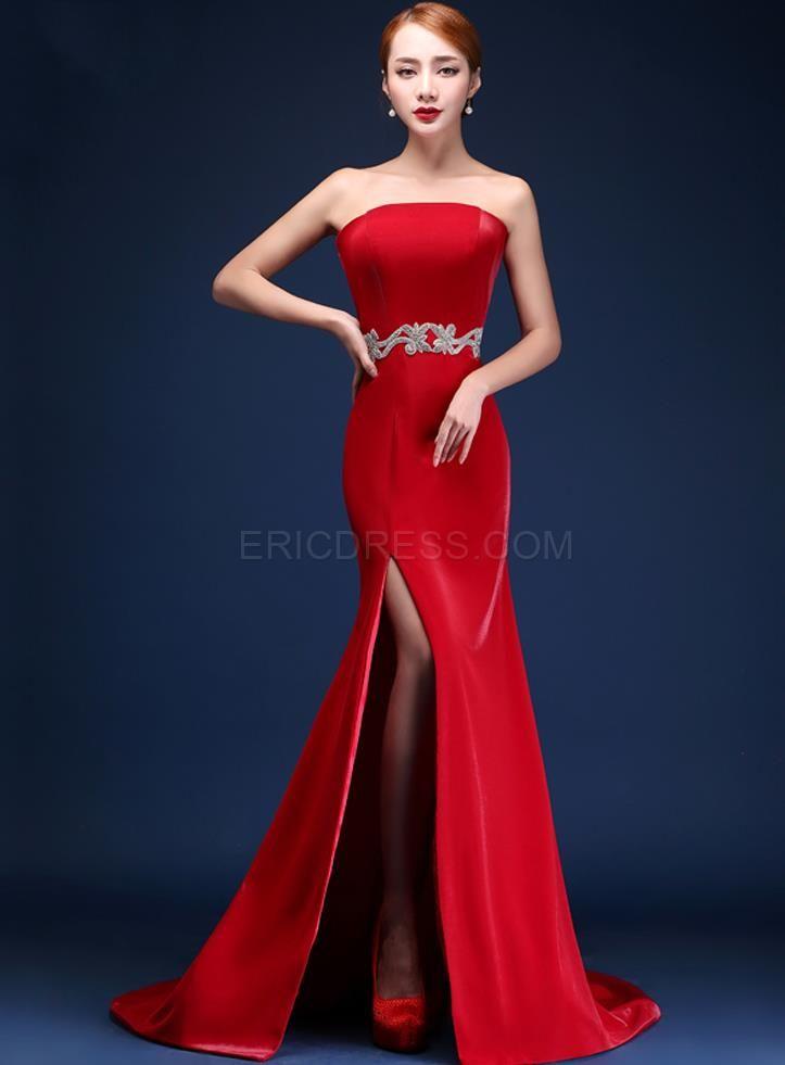 Ericdress Fantastic Strapless Side-Split Sweep Train Mermaid Evening Dress Evening Dresses 2015- ericdress.com 11289978