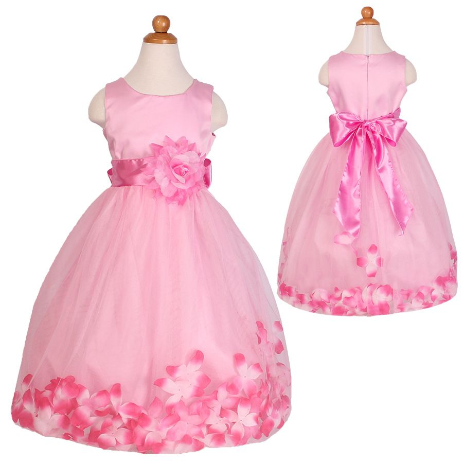 T high quality new arrival children pink flower princess dress