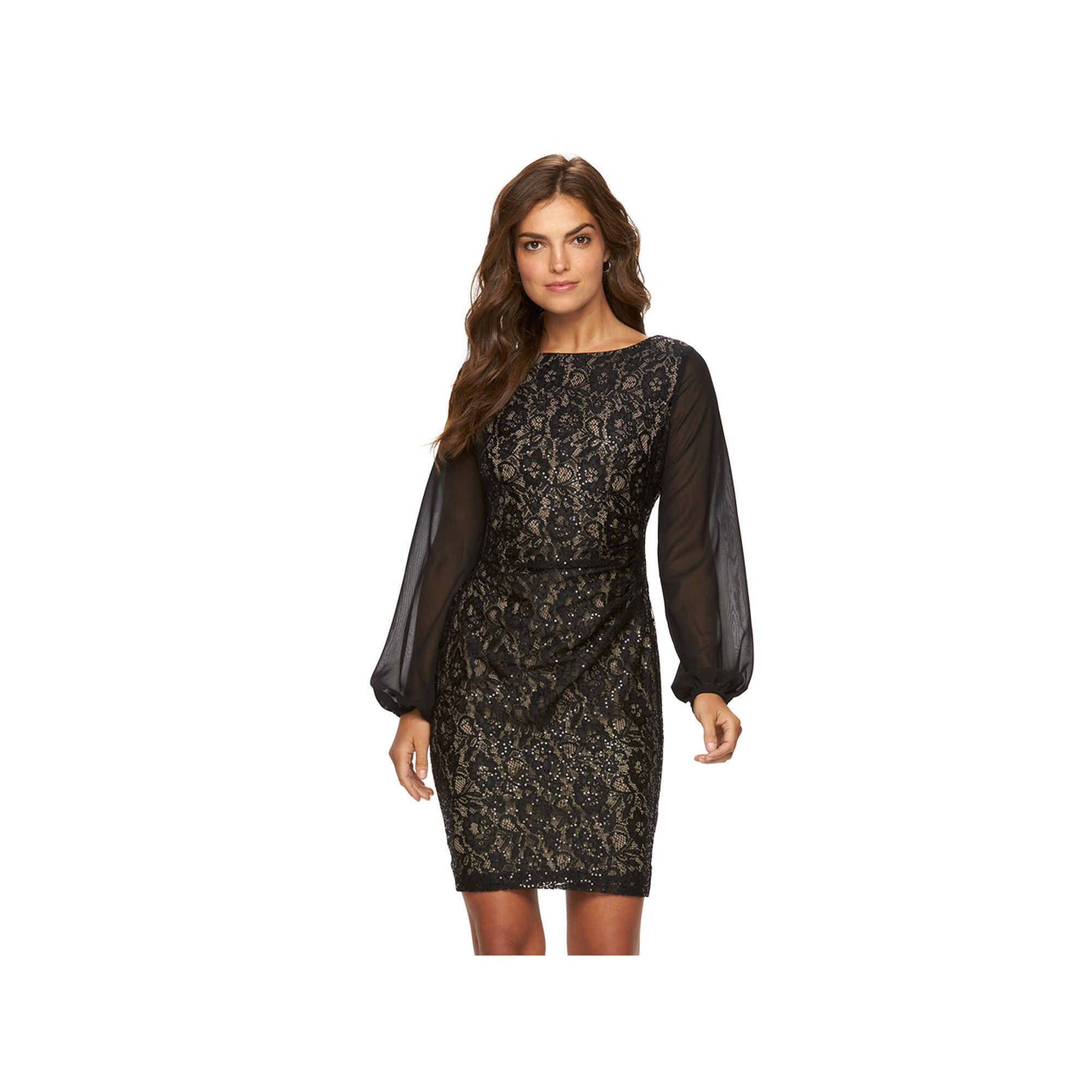 Women's Chaps Lace Sequin Sheath Evening Dress, Size: 2, Blue (Navy)