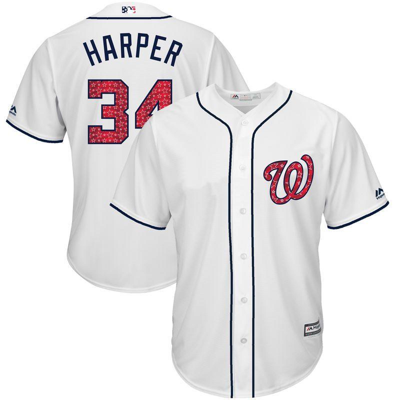 3523fea0c Bryce Harper Washington Nationals Majestic 2017 Stars   Stripes Cool Base  Player Jersey - White