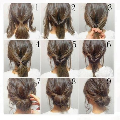 Easy Hairstyles For Short Hair Gorgeous Top 10 Messy Updo Tutorials For Different Hair Lengths  Pinterest
