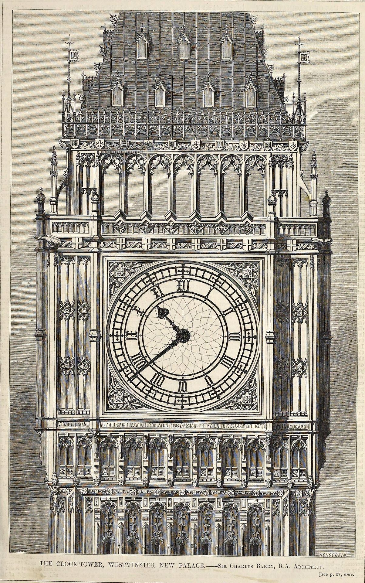Elevation Of The Clock Tower At Westminster Palace London