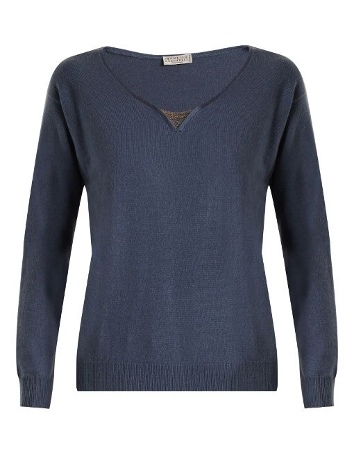 BRUNELLO CUCINELLI Embellished-neck cashmere sweater. #brunellocucinelli #cloth #sweater