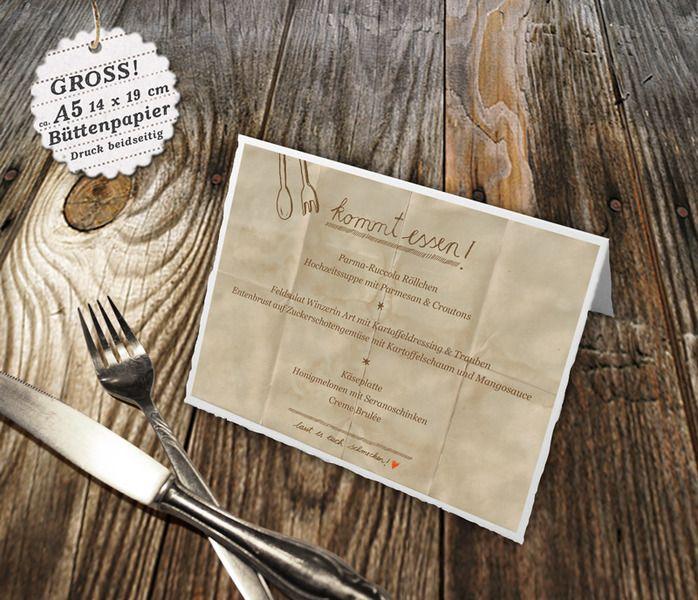 5 Bütten-Menükarten für Hochzeit, A5, kommt essen von EINE DER GUTEN - Bücher für ein tolleres Leben auf DaWanda.com
