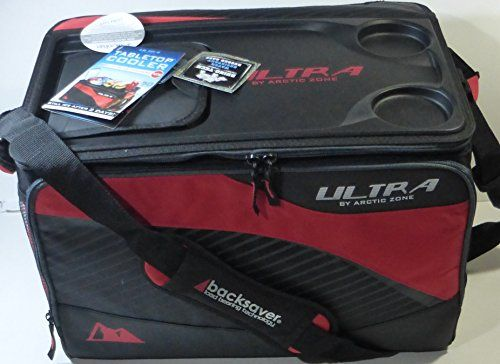 Amazon Com Ice Cold Ultra Cooler 50 Can Arctic Zone Table Top Lid Red Folds Flat California Innovations New Pa Picnic Bag Arctic Camping Gear