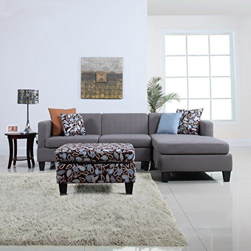 3Piece Modern Grey Sectional Sofa With Ottoman And Floral Print Simple Cheap Living Room Sets Under $500 Design Decoration