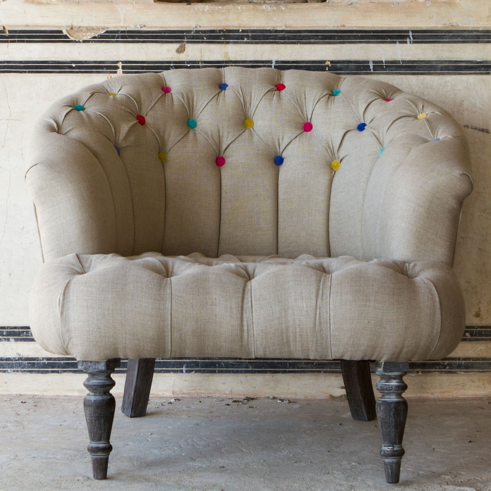 Linen Buttonback Round Chair   Natural / Multicolour Buttons   Ruby Star  Traders   A$1900
