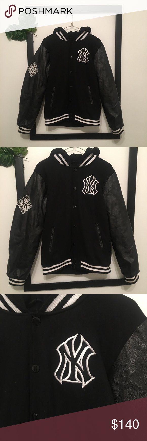 Ny Yankees Black Leather Majestic Varsity Coat Black Leather Ny Yankees Varsity Jacket [ 1740 x 580 Pixel ]