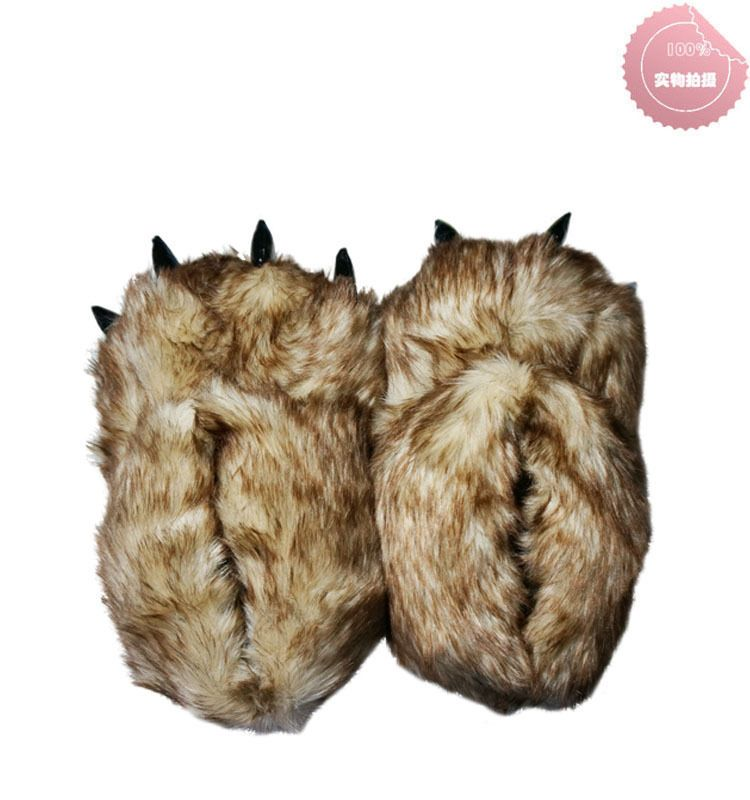 6f67256ced8 Adult Monster Men Bear Animal Big Foot Feets Unisex Home Paw Plush Slippers