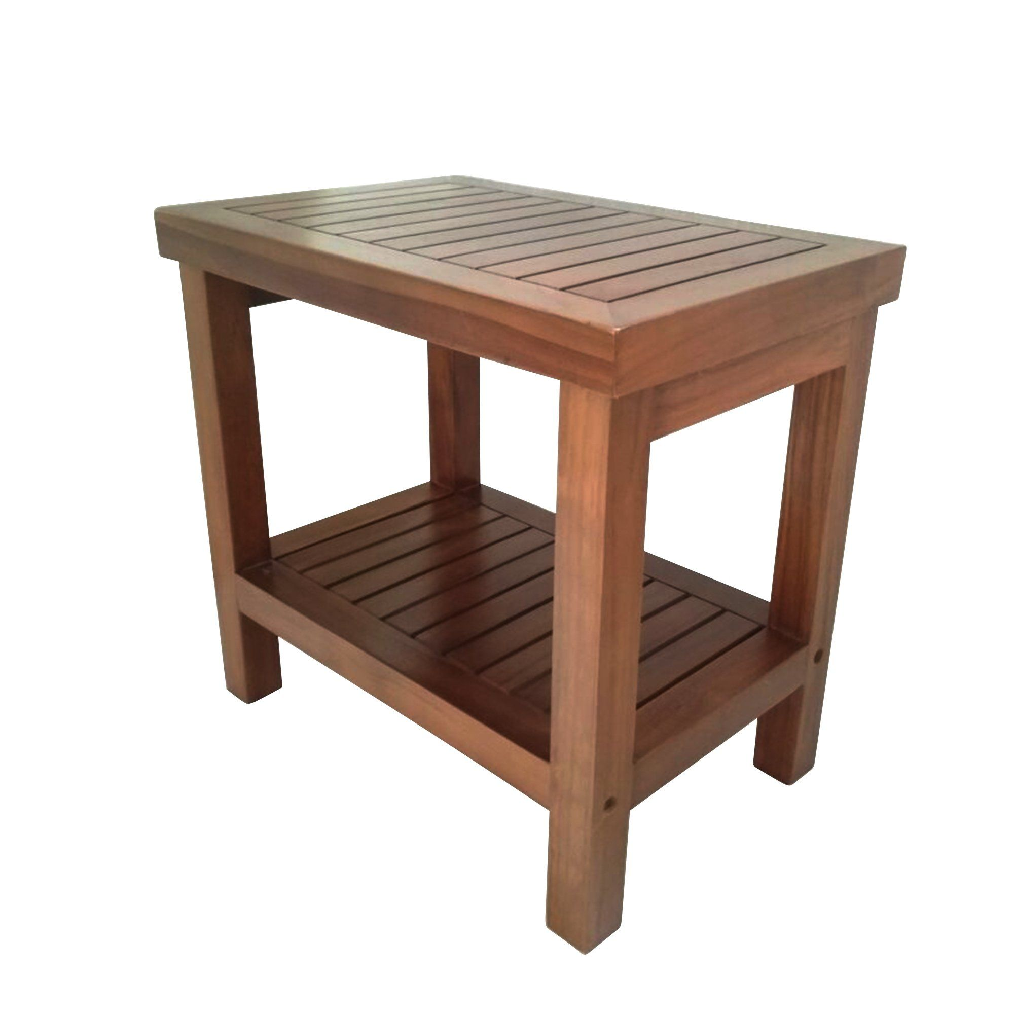 Wood Shower Bath Spa Waterproof Stool Bench With Shelf Brown Shower Seat Wood Shower Bench Teak Furniture