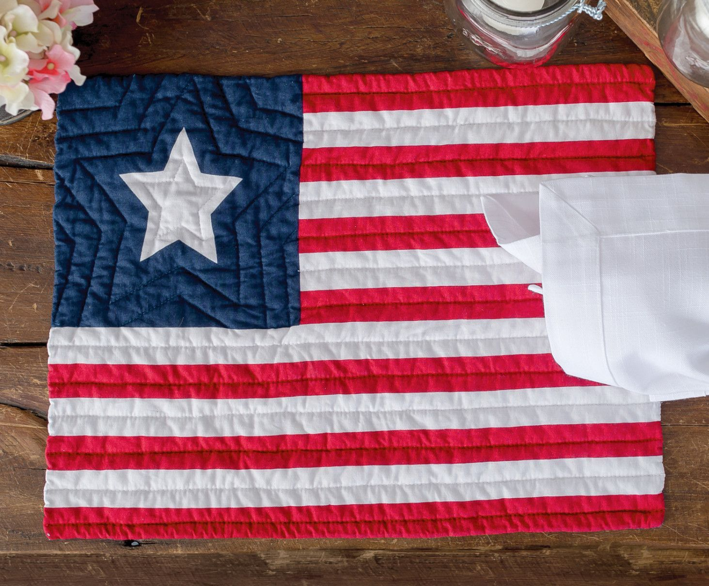 Quilted Flag Placemat Blue Placemats Flag Quilt American Flag Quilt